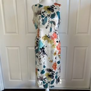 Jones New York White Satin Floral Cocktail Dress